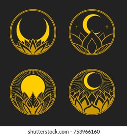 Set of round badges with lotus, moon and sun. Vector hand drawn illustration