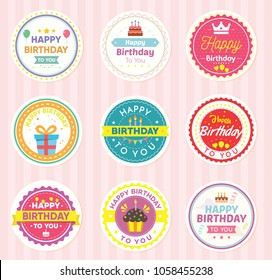 Set of Round birthday. For sticker, badges, card. Vector Illustration