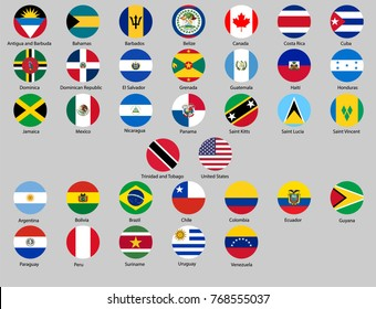 set of round buttons with flags of North America and South America vector illustration