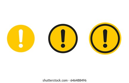Set of round caution icons. Caution sign. Vector