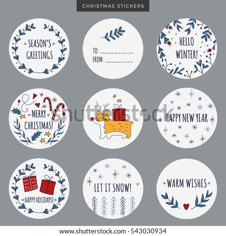 Free vector christmas labels for gifts