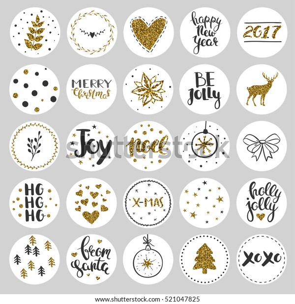 Set Round Christmas Stickers Christmas Labels Stock Vector