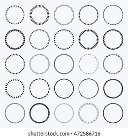 Set of round and circular decorative patterns for design frameworks and banners