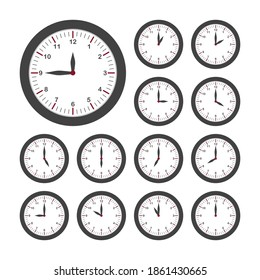 Set of round clocks for every hour. Analog clock with circle shape, time and minutes. Vector