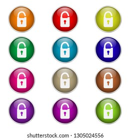 set of round color padlock icons
