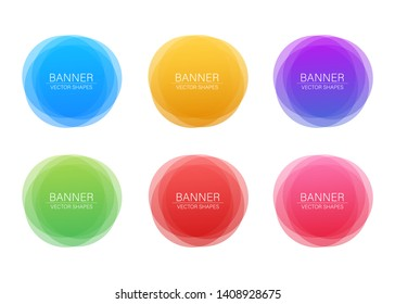Set of round colorful vector shapes. Abstract vector banners. Vector stock illustration.