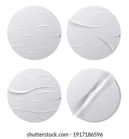 Set of Round crumpled sticker mock up. Vector illustration. Eps 10.