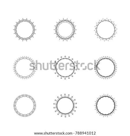 set round decorative borders elements graphic stock vector royalty