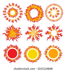 Set of round fire framework. The fiery sun. A Burning Fireball. Flame red and yellow. Vector illustration.