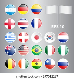 Set of Round Flags World Top Countries Including Brazil, U.S.A., Germany, England, etc. The Most Values