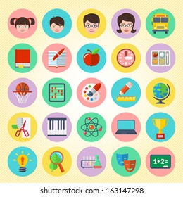 Set of round  flat icons of different school subjects and persons