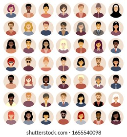 Set of round flat icons with people. Different nationalities.  European, Asian, African American. Vector illustration.