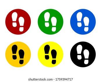 Set of Round Floor Marking Adhesive Sticker Icons with Different Colors and Shoeprints or Footprints for Queue Line or Other Purposes Requiring Social Distancing. Vector Image.