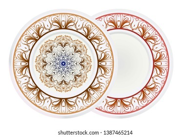 Set of round floral frame and mandala ornament. Vector illustration