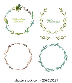 Set of round frame made of various leaves in watercolor. Hand-painted design elements. Floral motifs