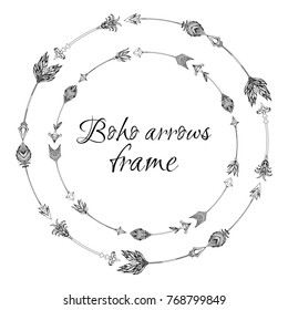 Set of round frames with a boho arrows with different tips and plumage. Vector doodle element for invitations, cards and your creativity