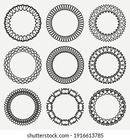 Set of round frames for decoration. Circular frames. Black frames. Collection of black frames on white background.