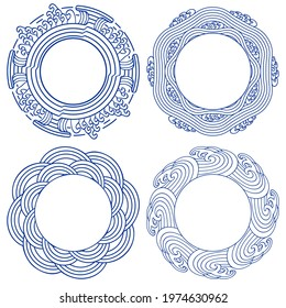 Set of round frames with sea waves and ornaments. Vintage style for Chinese painting on porcelain. Vector illustration.