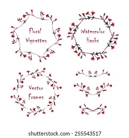 Set of round frames and vignettes made of watercolor  thistle. Hand-painted watercolor design elements isolated on white. Perfect for greetings, invitations, web design.