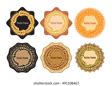 Set of round frames with wheat. Ears of cereals on a different lining. Vector illustration isolated on white background. The concept of agricultural product symbol of the grain.