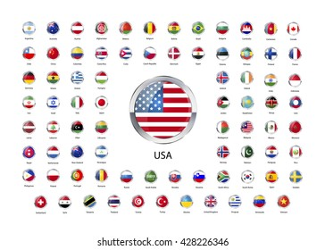 Set of round glossy icons with metallic border of flags of world sovereign states isolated on white