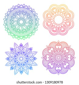 Set of round gradient mandala on white isolated background. Vector hipster mandala in green, red, blue, violet and pink colors. Mandala with floral patterns. Yoga template. - Vector
