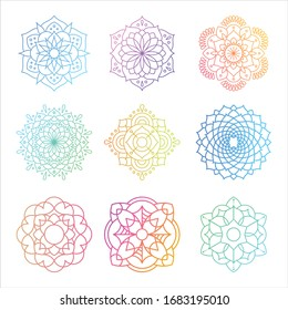 Set of round gradient mandala on white isolated background. Mandala with floral patterns. Yoga template.