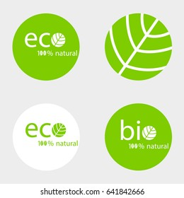 A set of round green labels with eco and bio inscriptions Natural logo vector design set.