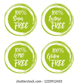 Set of round green labels with text - lactose free, sugar free, gluten free, gmo free.