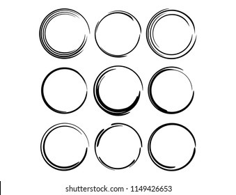 Set of round grunge frames. Empty circlular borders. Ellipse frame collection. Vector illustration.