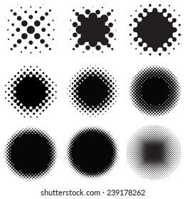 Set of Round Halftone Vector Design Elements