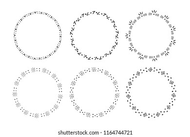 Set of round hand drawn frames of stars, hearts, crown, abstract shapes. Doodles style. Vector illustration. Decorative isolated elements, border, label for text.