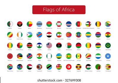 set of round icons African flags