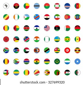 set of round icons African flags on white background
