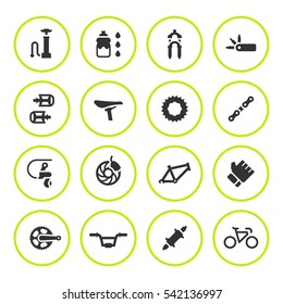 Set round icons of bicycle parts and accessories