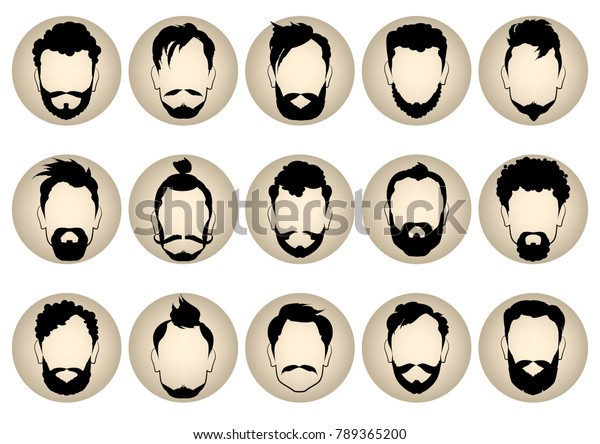 Set Round Icons Different Mens Hairstyles Stock Vector Royalty Free 789365200