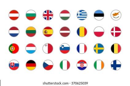set of round icons European Union flags on white background