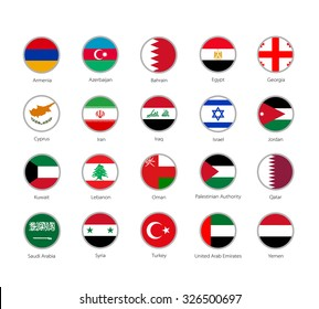 set of round icons Middle East flags on white background
