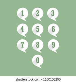 Set of round icons with numbers from one to zero, flat image, long shadow