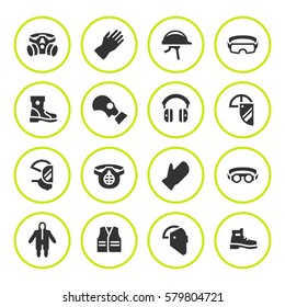 Set round icons of personal protective equipment