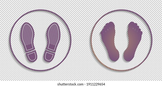 Set of round icons with shadows. Imprints of human feet and soles. EPS10