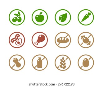 Set of round icons of various diets and ingredient labels. Symbolizing ketogenic, paleolitic, vegetarian, vegan diets; and absence of common food allergens like dairy, wheat, nuts and more.