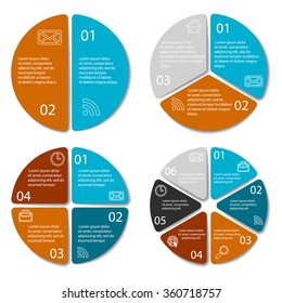 Set of round infographic diagram. Circles of 2, 3, 4, 6 elements. Vector EPS10