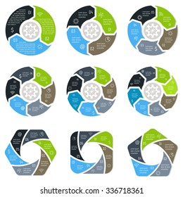 Set of round infographic diagrams. Circular connected charts with 3, 4, 5, 6, 7, 8 options. Progress steps for tutorial. Business concept sequence banners, process layouts. EPS10 vector collection.