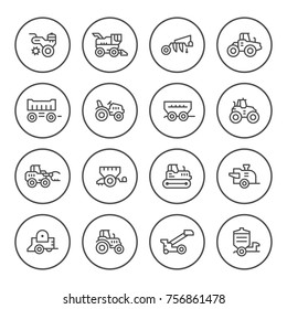 Set round line icons of agricultural machinery