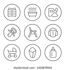 Set round line icons of baby goods