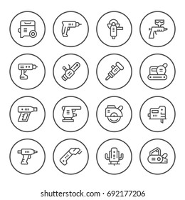 Set round line icons of electric tools