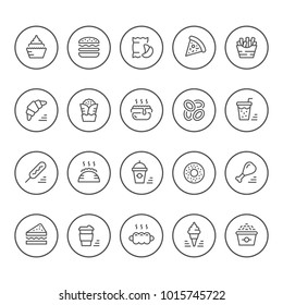 Set round line icons of fast food