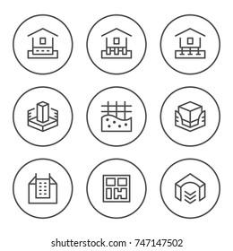 Set round line icons of house foundation