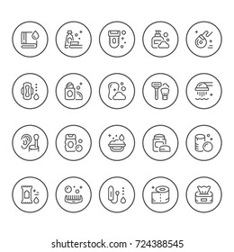 Set round line icons of hygiene